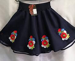"""Юбка вышитая для девочки из натуральной ткани 98-116 см """"Цветы"""" Темно-Синяя"""