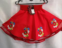 """Юбка вышитая для девочки из натуральной ткани 98-116 см """"Цветы"""" Красная"""