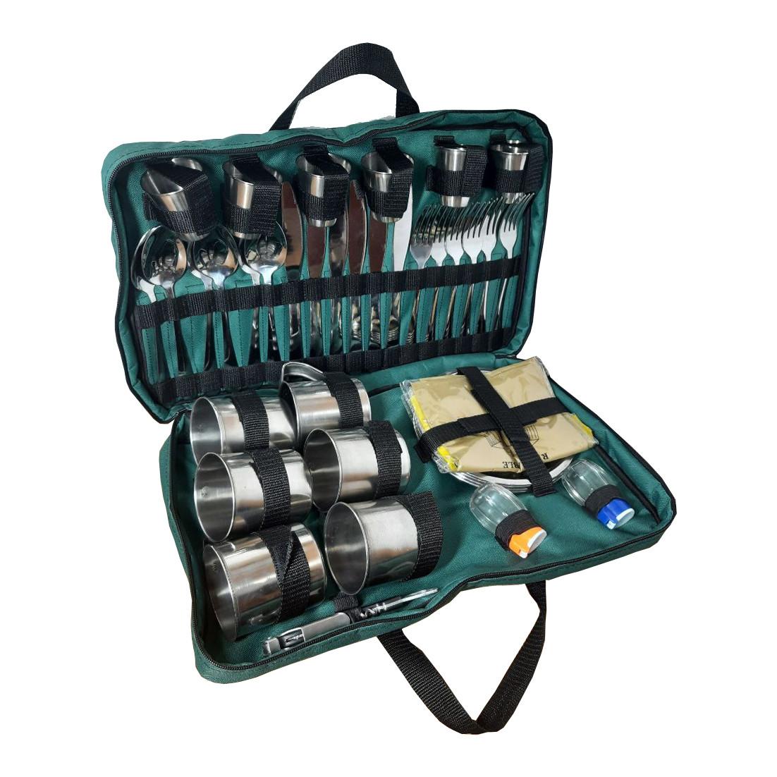 Набор для пикника на 6 персоны в сумке №4 (40 предметов). Сумка походная, набор посуды для туризма №1