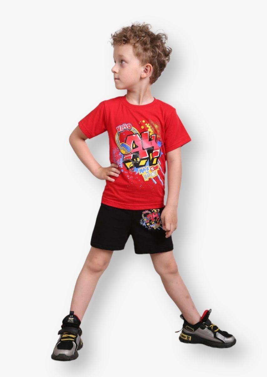 Детский комплект с принтом А4 для мальчиков кулир