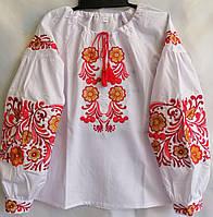 Вышиванка детская для девочки с длинным рукавом из натуральной ткани 122-146 см Бело-красная