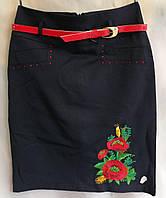 Юбка вышитая для девочки из натуральной ткани 38-44 размер Темно-Синяя