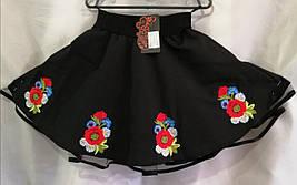 Юбка вышитая для девочки из натуральной ткани 122-146 см Черная