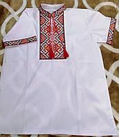 Вышиванка детская на мальчика с коротким рукавом из натуральной ткани 6-12 лет Бело-красная