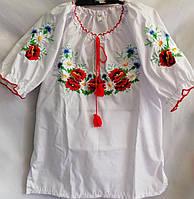 Вышиванка детская для девочки с длинным рукавом из натуральной ткани 116-146 см Бело-красная