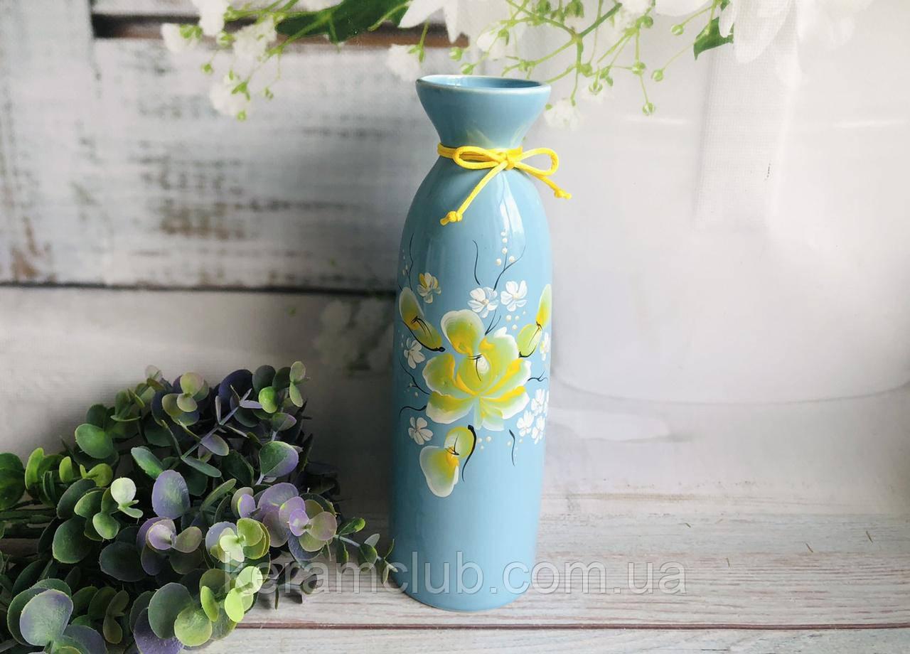 """Настільна ваза """"Арія"""" в блакитному кольорі з розписом h 25 см"""