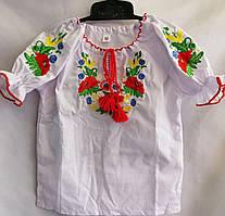 Вышиванка детская для девочки с длинным рукавом из натуральной ткани 92-116 см Бело-красная