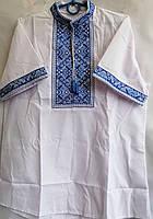 Вышиванка детская на мальчика с коротким рукавом из натуральной ткани 13-16 лет Бело-синяя