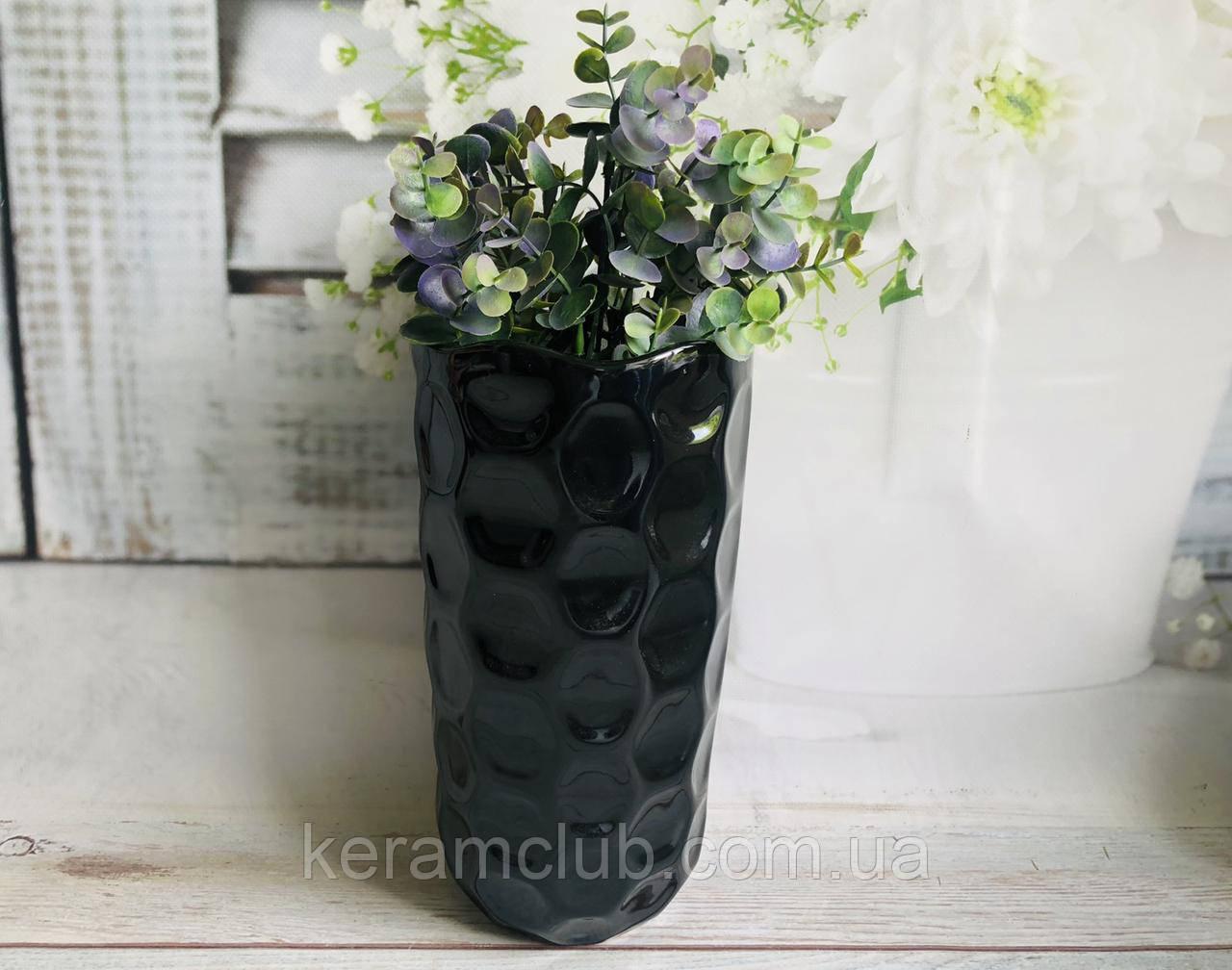 Настільна ваза КерамКлуб Венера в чорному кольорі h 26 см