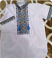 Вышиванка детская на мальчика с коротким рукавом из натуральной ткани 6-12 лет Бело-синяя