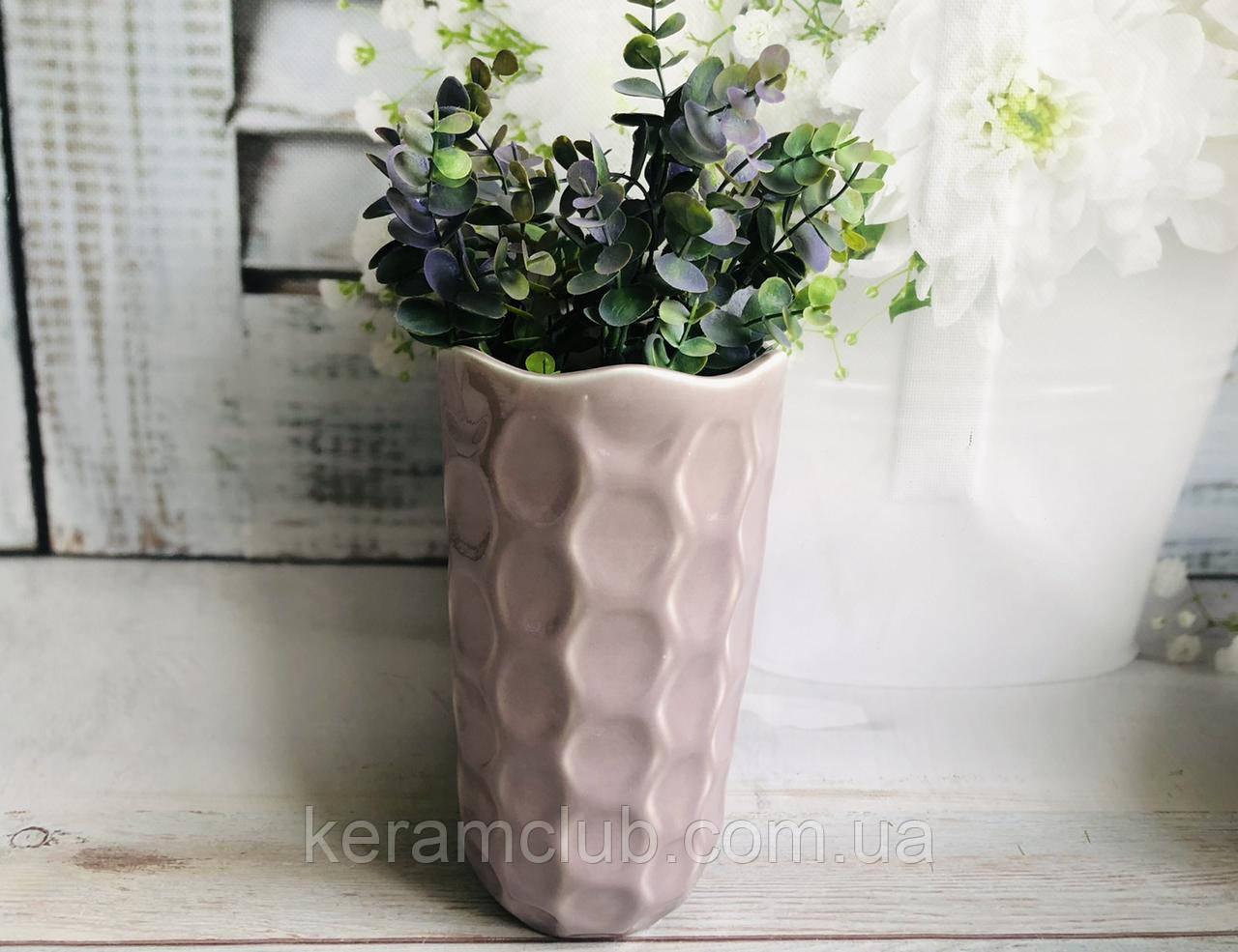 Настольная ваза КерамКлуб Венера в сиреневый цвете h 26 см