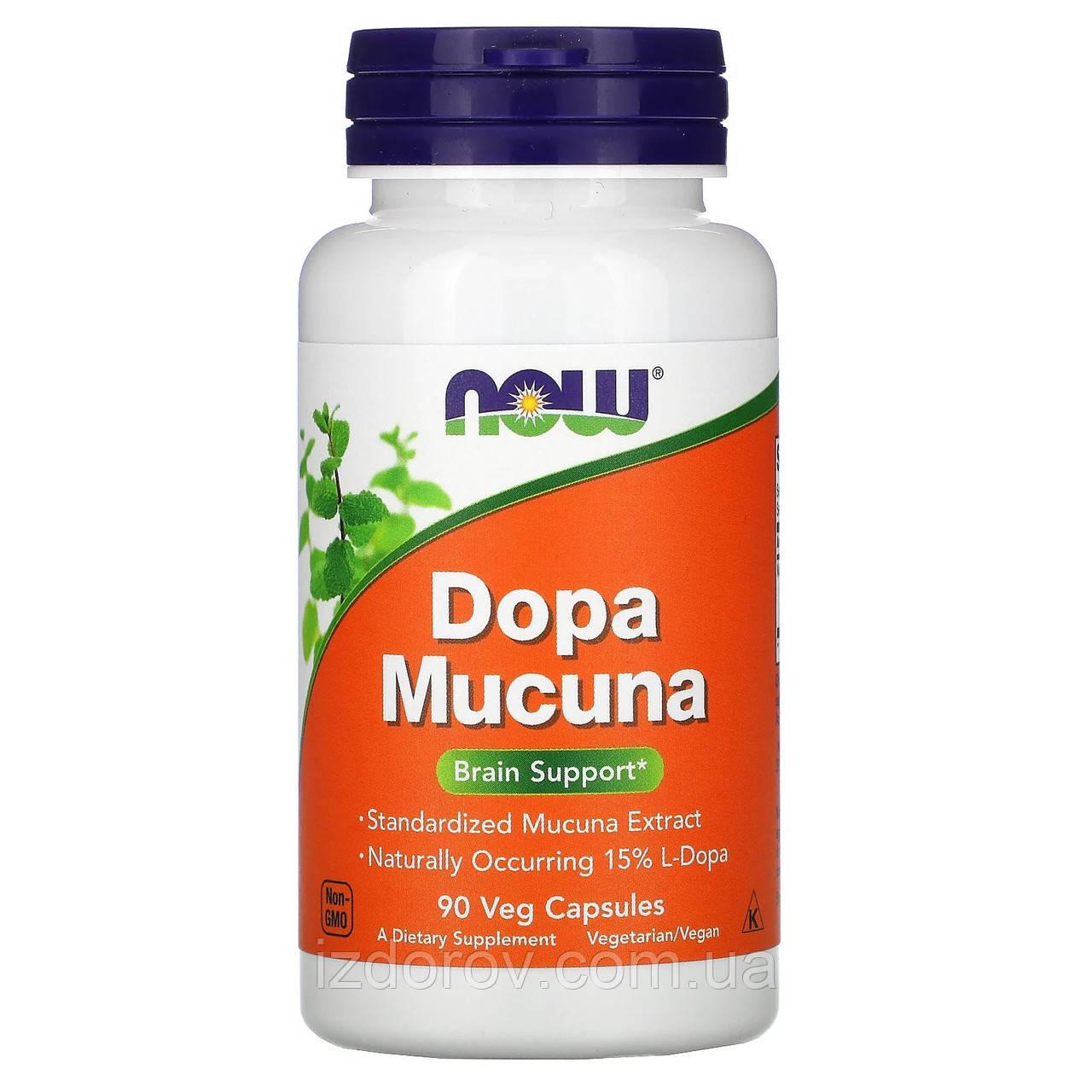 Now Foods, Допа Мукуна, Dopa Mucuna, 90 растительных капсул