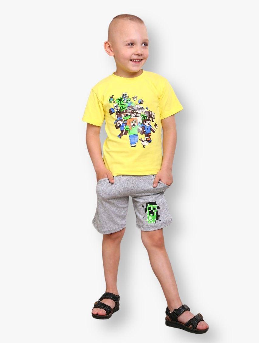 Детский комплект с принтом Minecraft для мальчиков стрейч-кулир