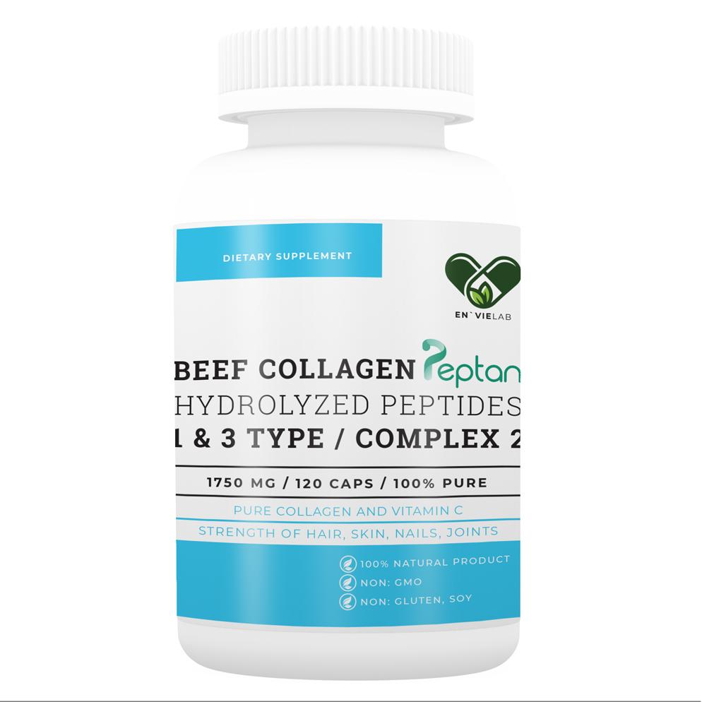 """Колаген 1 і 3 типу з Вітаміном с """"1500 mg"""" для суглобів і зв'язок (нігтів, волосся, шкіри) Envie Lab (120 капсул)"""