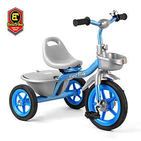 Велосипед трехколесный детский (резиновые колеса, звоночек, 2 корзины) Best Trike BS-2478 Голубой