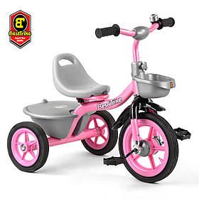 Велосипед трехколесный детский (резиновые колеса, звоночек, 2 корзины) Best Trike BS-1142 Розовый