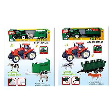 Трактор з причепом інер-ий 40см,тварина,фігурка,звук.,світ.,в кор-ці №IC888A-4-8(36)