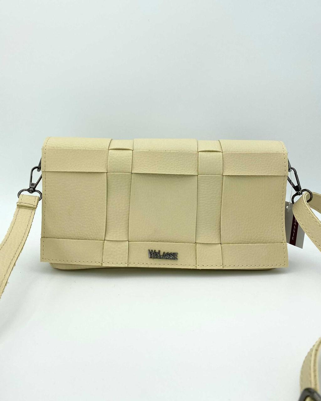 Женская сумка молочного цвета! Маленькая мини сумочка 65209 плетеная кросс боди через плечо