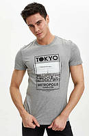 Сіра чоловіча футболка Defacto / Дефакто з написом Tokyo, фото 1