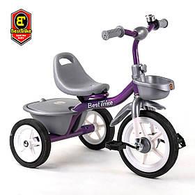 Велосипед трехколесный детский (резиновые колеса, звоночек, 2 корзины) Best Trike BS-4298 Фиолетовый