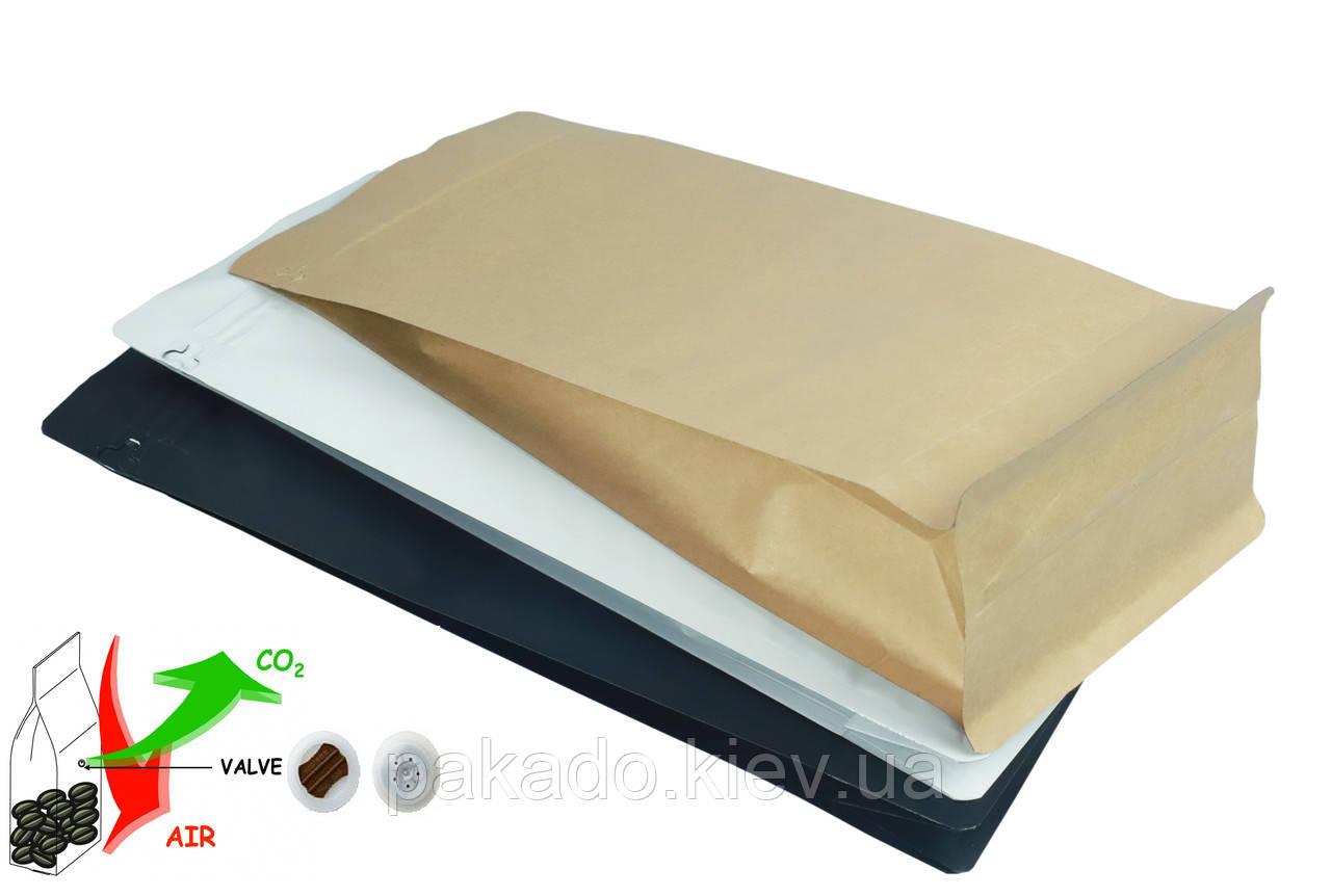 Пакет з плоским дном 120х200х80 (250г) КРАФТ метал. zip-замок бічний + Клапан дегазації