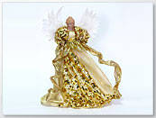 Оригинальная Верхушка на елку Ангелв золотом текстильном платье с пайетками, лентами и настоящими крыльями, ку
