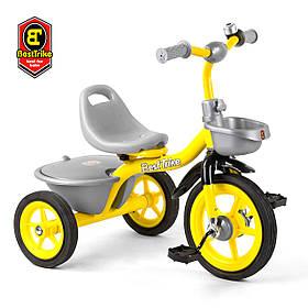 Велосипед трехколесный детский (резиновые колеса, звоночек, 2 корзины) Best Trike BS-9603 Жёлтый