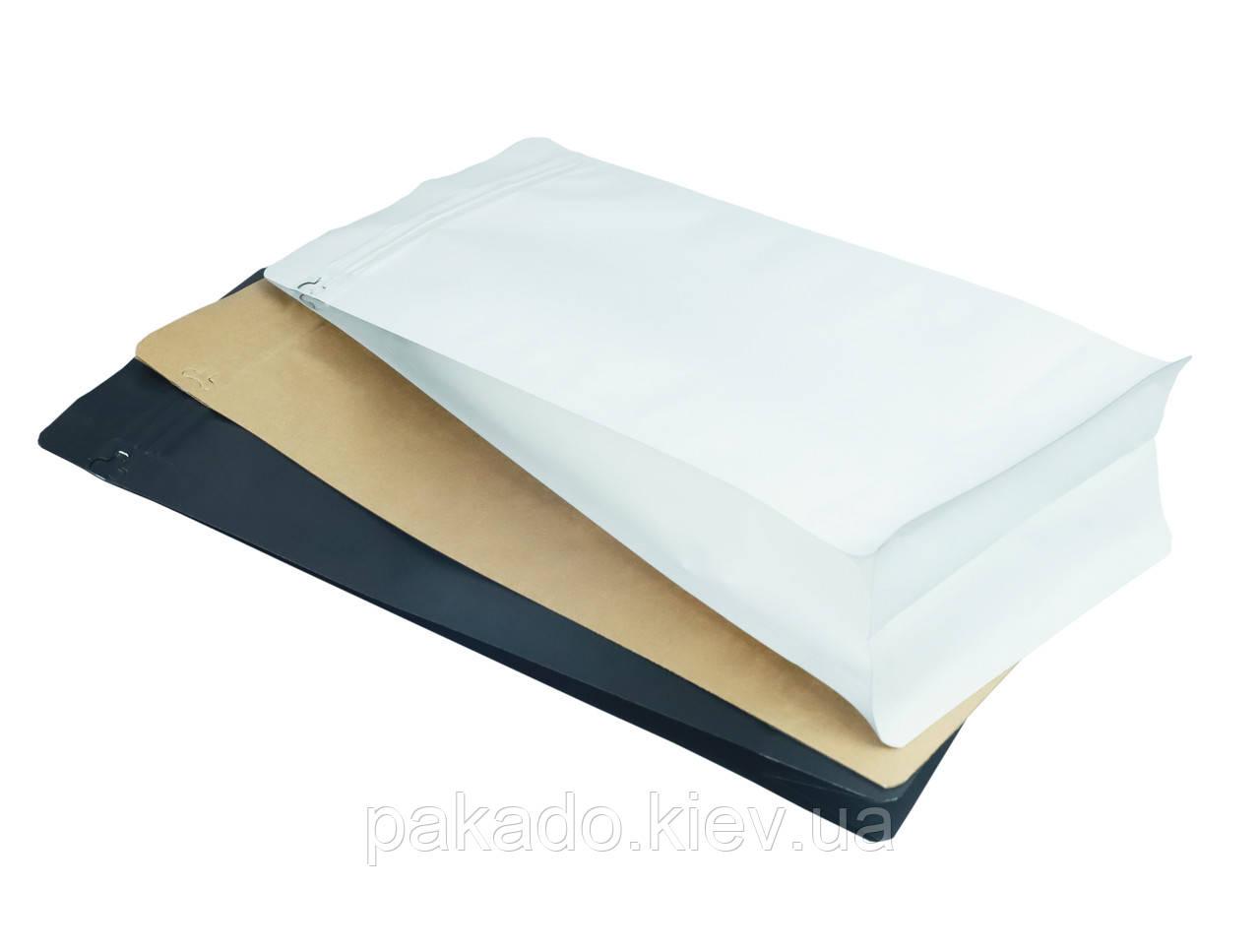 Пакет с плоским дном 155х195х60 (250г) БЕЛЫЙ КРАФТ (без металлизации) zip-замок боковой