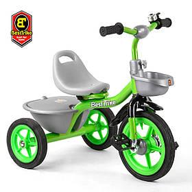 Велосипед трехколесный детский (резиновые колеса, звоночек, 2 корзины) Best Trike BS-3615 Зелёный