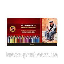 Карандаши цветные акварельные Mondeluz, мет.кор., 72 цв.