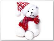 Шкодная Новогодяя декоративная игрушка Мишка в шапке и шарфике 23см