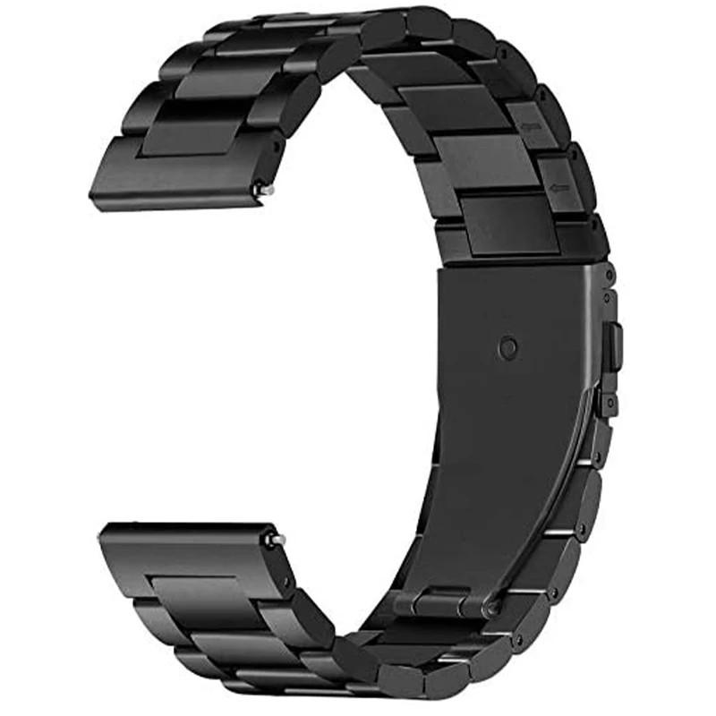 Ремінець сталевий Lemfo шириною 22 мм Black
