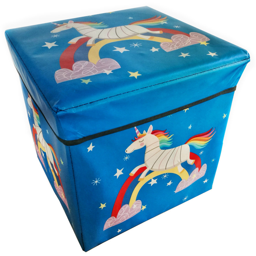 Коробка-пуфик для іграшок Єдиноріг MR 0364-3, ,31-31-31 см (Синій)