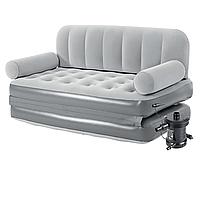 Надувной диван Bestway 75073, 188 х 152 х 64 см, с электрическим насосом. Флокированный диван трансформер 2 в