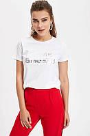 Белая женская футболка Defacto / Дефакто с принтом Stop calling me every half hour:), фото 1