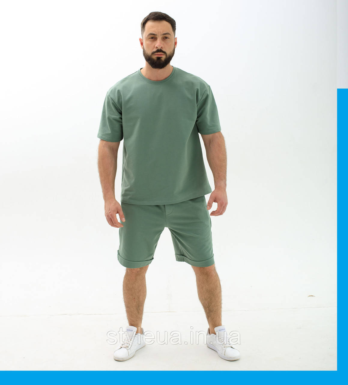 Чоловічий спортивний костюм Футболка+шорти / Річний комплект вільного крою Оверсайз