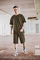 Мужской спортивный костюм оверсайз летний костюм футболка шорты OVERSIZE цвет хаки костюм летний Oversize