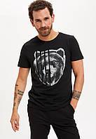Черная мужская футболка Defacto  Дефакто с медведем