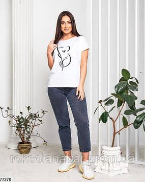 Футболка однотонна жіноча молодіжна біла з коалою
