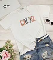 Белая женская футболка Диор
