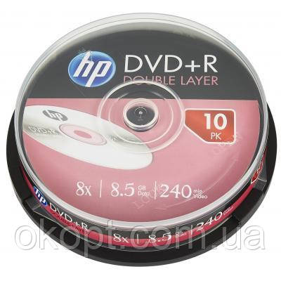 Диск DVD HP DVD+R 8.5GB 8X DL 10шт Spindle (69309/DRE00060-3)