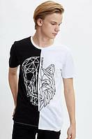 Черно-белая мужская футболка Defacto  Дефакто с принтом череп-волк