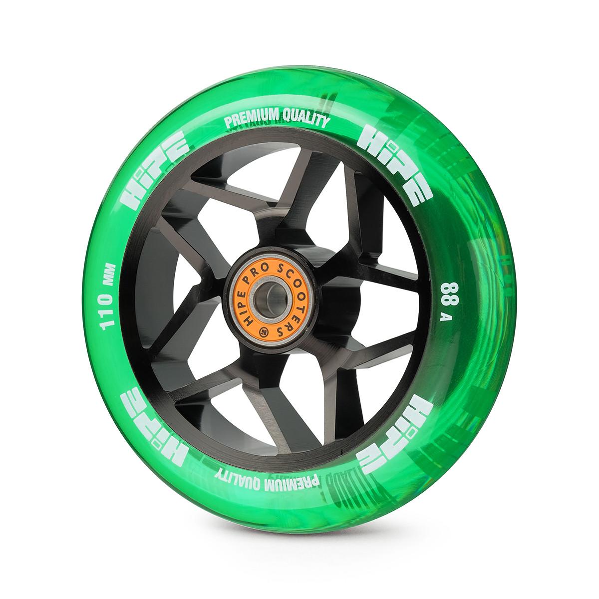Колесо для трюкового самоката Hipe Star 110мм, black/transparent/green