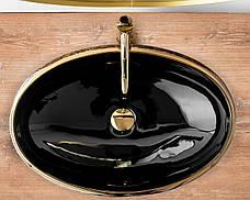 Умывальник (раковина) REA MERYL BLACK / GOLD накладной, фото 2