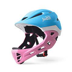 Шолом захисний з підборіддям Nuckily PB14 Blue + Pink р. 52-55 шолом для велосипедистів