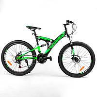 """Спортивный велосипед 26 дюймов (рама 16"""", 21 скорость, сборка 75%) Corso Hyper 29045 Зелёный"""