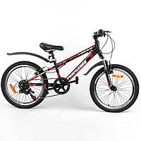 """Спортивный велосипед 20 дюймов (рама 11"""", 7 скоростей, сборка 75%) Corso Pulsar 36287 Черно-красный"""