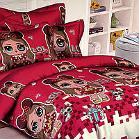 """""""лялька лол"""" полуторний комплект постільної білизни 150/220 з дитячим малюнком, тканина сатин 100% бавовна"""
