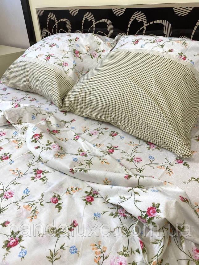 Постільна білизна бязь голд, гарний двоспальний комплект з квітами, фото 2