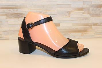 Босоножки женские черные на небольшом каблуке натуральная кожа Б1168